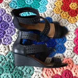Lucky Brand Black Strappy Wedge Heels